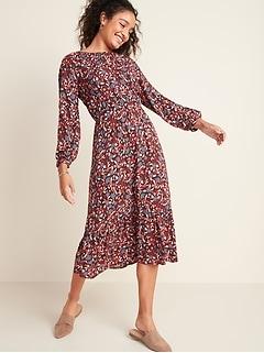 Floral-Print Waist-Defined Midi Dress for Women