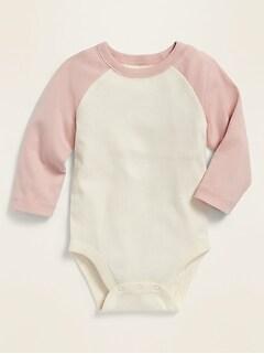 Color-Blocked Raglan-Sleeve Bodysuit for Baby