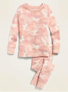 Camo Unicorn-Print Pajama Set for Toddler & Baby