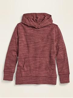 Chandail à capuchon à enfiler en tricot grège à coutures d'épaules basses pour fille