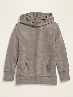 Slub-Knit Drop-Shoulder Pullover Hoodie for Girls