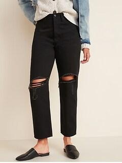 Extra High-Waisted Sky-Hi Straight Hidden Button-Fly Rigid Black Jeans for Women