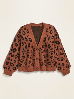 Printed Button-Front Cropped Cardigan for Girls