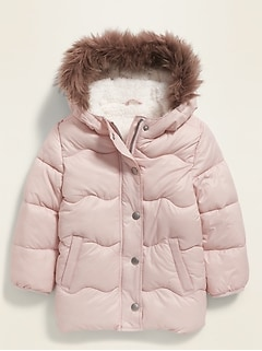 Unisex Faux-Fur-Trim Hooded Frost-Free Puffer Jacket for Toddler