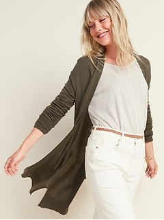 Super-Long Open-Front Sweater for Women