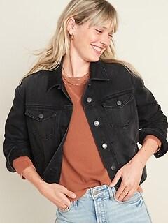 Veste en jean trois quarts noire pour femme