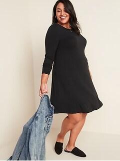 Jersey-Knit Long-Sleeve Plus-Size Swing Dress