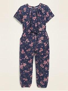 Plush-Knit Floral Jumpsuit for Toddler Girls