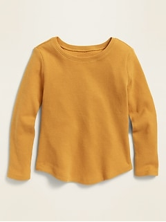 Long-Sleeve Scoop-Neck Thermal Tee for Toddler Girls