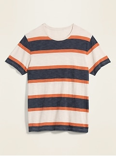 T-shirt rayé en tricot en fil flammé au fini soyeux pour homme