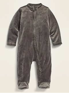 Unisex Star-Print Velour Footed One-Piece for Baby
