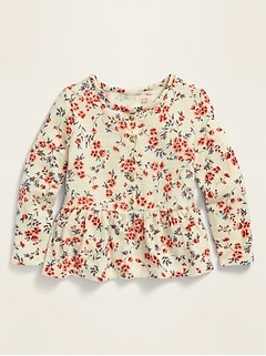 Printed Long-Sleeve Peplum-Hem Top for Toddler Girls