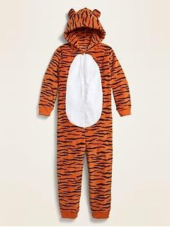 Pyjama une-pièce douillet à capuchon unisexe pour enfant