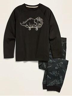 Pyjama avec haut raglan à imprimé et pantalon d'entraînement pour garçon