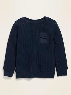 T-shirt à manches longues à poche militaire en tricot isotherme pour tout-petit garçon