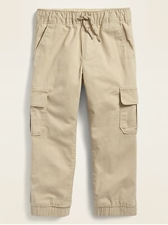 Built-In Flex Functional-Drawstring Twill Cargo Jogger Pants for Toddler Boys