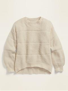 Textured Pointelle Hi-Lo Hem Sweater for Girls