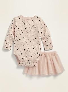 Long-Sleeve Bodysuit and Tutu Skirt Set for Baby