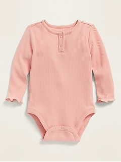 Unisex Solid Long-Sleeve Rib-Knit Henley Bodysuit for Baby