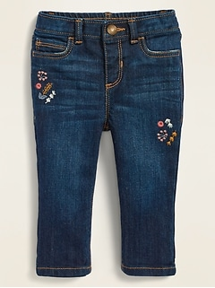 Boyfriend Skinny Embroidered Dark-Wash Jeans for Baby
