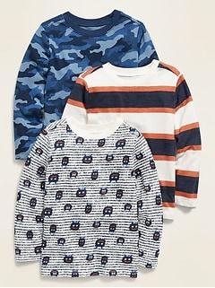 T-shirt col rond à manches longues pour tout-petit garçon (paquet de 3)