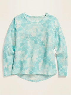 Softest Scoop-Neck Long-Sleeve Printed Tee for Girls