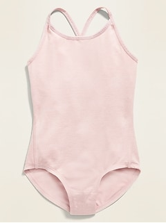 Go-Dry Solid Strappy Leotard for Girls