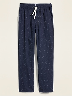 Patterned Poplin Pajama Pants for Men