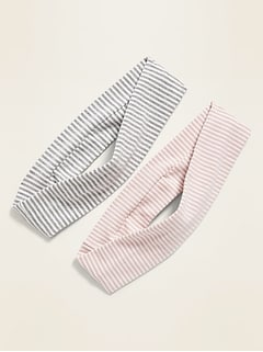 Striped Jersey Headband 2-Pack for Girls