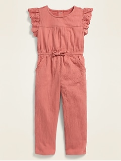 Textured-Jersey Eyelet-Sleeve Jumpsuit for Toddler Girls