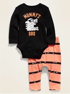 Unisex Halloween Graphic Long-Sleeve Bodysuit & U-Shaped Pants Set for Baby