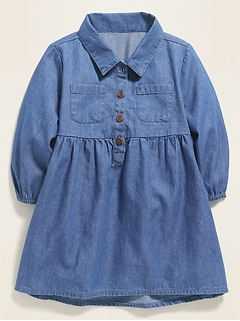 Long-Sleeve Chambray Utility Shirt Dress for Baby