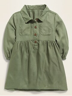 Long-Sleeve Utility Shirt Dress for Baby