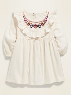 Embroidered Ruffle-Trim Dress for Baby