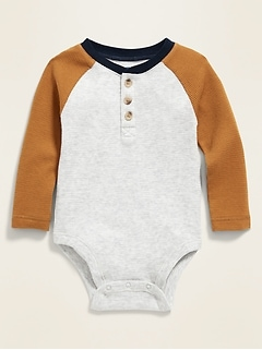 Unisex Thermal Henley Bodysuit for Baby