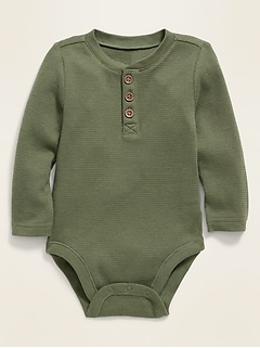Unisex Henley Thermal Bodysuit for Baby