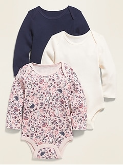 Long-Sleeve Thermal Bodysuit 3-Pack for Baby