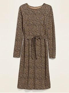 Jersey-Knit Tie-Waist Midi Sheath Dress for Women
