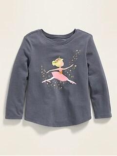 Ballerina-Graphic Long-Sleeve Tee for Toddler Girls