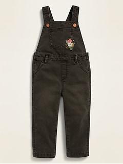 Salopette en jean noir brodé pour toute-petite fille