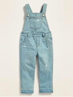 Salopette classique en jean d'aspect usé pour toute-petite fille