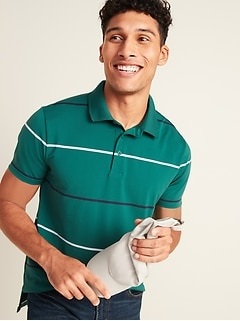 Luxe Dry-Quick Built-In Flex Stripe Polo for Men