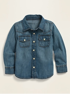 Long-Sleeve Western Jean Shirt for Toddler Boys