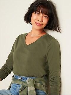 T-shirt à col enV et à manches longues tout-aller pour femme
