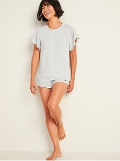 Jersey-Knit Pajama Top & Pajama Shorts Set for Women