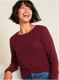 T-shirt Tout-aller à manches longues en fil flammé pour femme