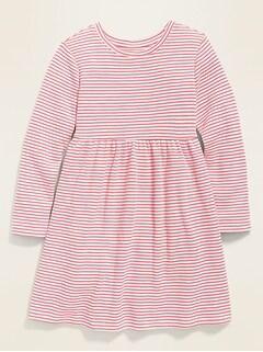 Robe t-shirt à manches longues en tricot isotherme pour toute-petite fille