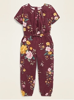 Plush-Knit Floral Jumpsuit for Toddler Girls