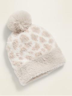 Bonnet à imprimé léopard à pompon pour toute-petite fille