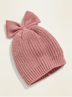Sweater-Knit Bow Beanie for Baby